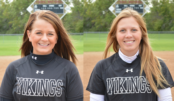Mackenzie Hamre, left, and Katie Cameron had big days at the plate Saturday.