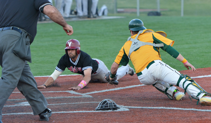 Presentation College catcher Drew Sanders drives to tag out Mike Gershman on a play at home Saturday. (Mark Potts)