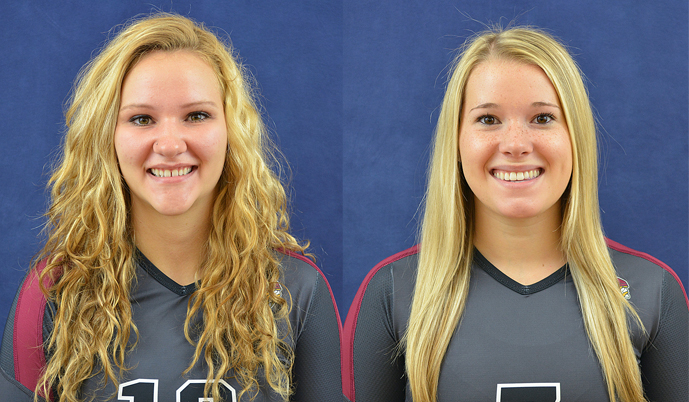 Barbara Ector, left, and Jaycee George will travel to Costa Rica this month on a Volleyball Tour.