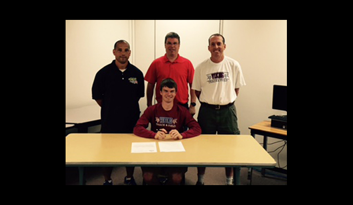 Valley City's Casey Engelhard signs his letter of intent to compete in track and field at VCSU.