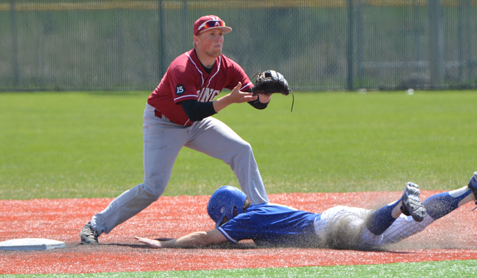 Mayville's Spencer Mallonee steals second base ahead of a throw to VCSU's Jake Rambow. (Mark Potts)