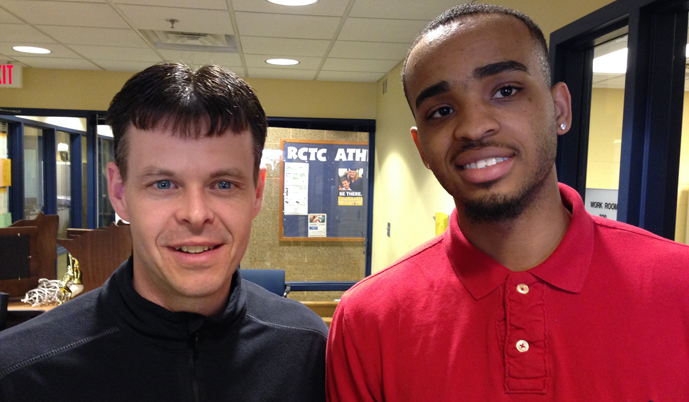 Justyn Galloway, right, with RCTC head coach Brian LaPlante.
