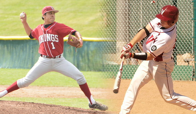 Chip Rosales, left, and Joe Demers earned the NSAA Pitcher and Player of the Week awards.