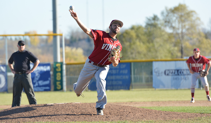 VCSU's Alan Sandoval delivers a pitch Sunday during the Vikings' 5-4 win against Mayville State.