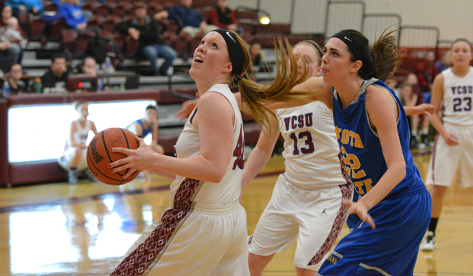 VCSU's Courtney Dixon turns toward the basket for a shot Wednesday night in Valley City.
