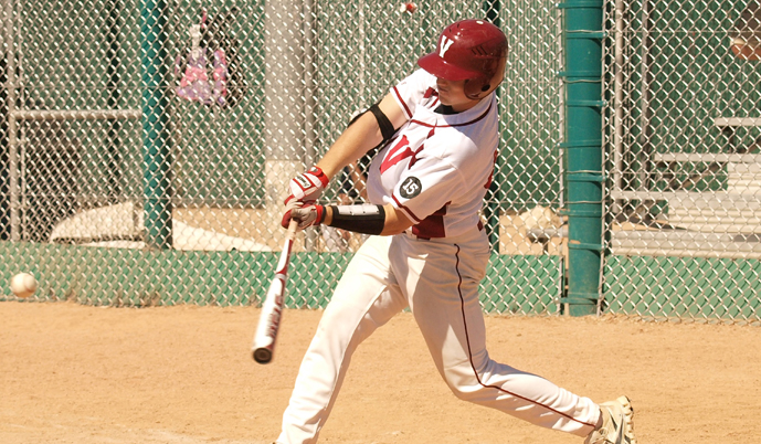Joe Demers takes a swing during VCSU's games in Arizona. (Photo credit: Darryl Gershman)