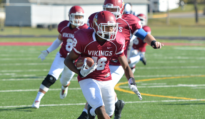 VCSU's Mychael Bruce returns one of his two interceptions on Saturday. (Mark Potts/VCSU)