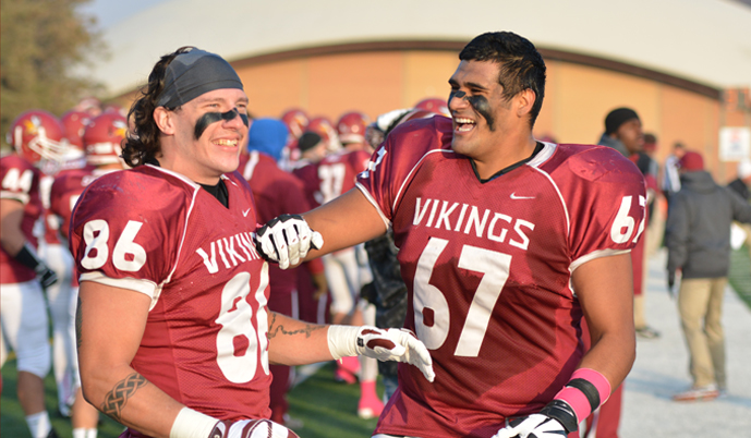 Viking seniors Jake Miller, left, and George Trujillo enjoy VCSU's victory in the final seconds Saturday.