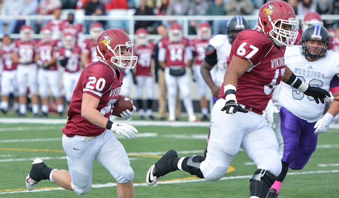 VCSU senior George Trujillo (67) clears a path for senior running back Ian Keller (20) on Oct. 4.