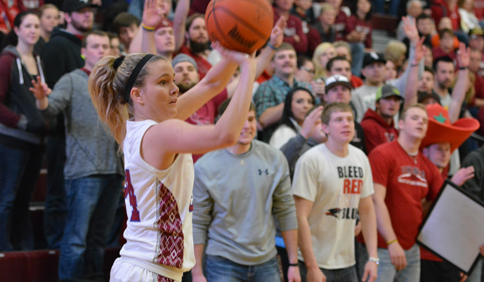 VCSU's Georgia Williams shoots a 3 in the first half Saturday. (Mark Potts/VCSU)