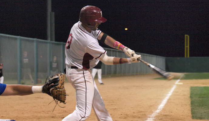 Mike Gershman connects on a swing during VCSU's spring trip to Tucson. Gershman had four hits and four RBIs Sunday.