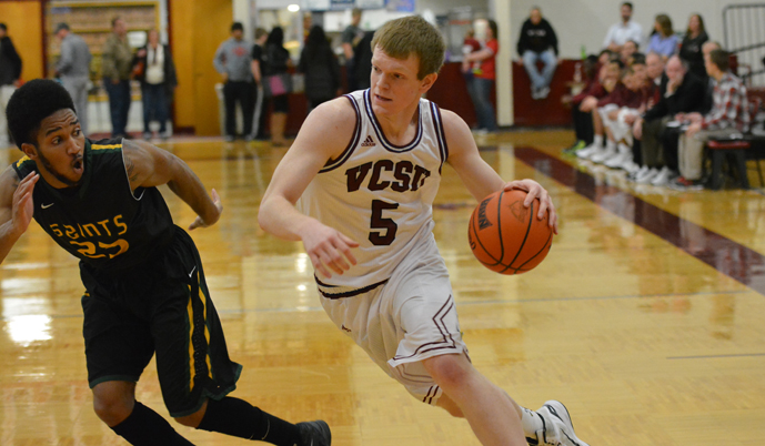 VCSU forward Jayden Ferguson drives to the basket Saturday. Ferguson led the Vikings with 22 points.