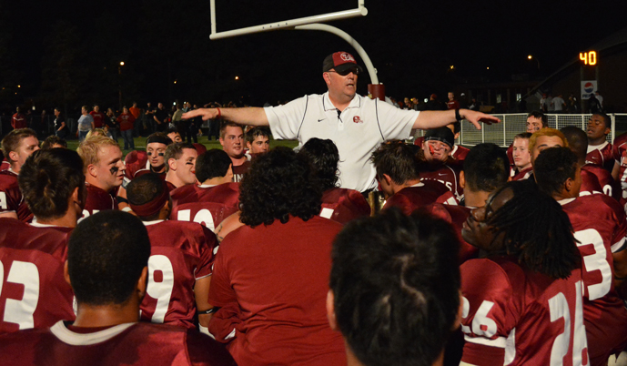 VCSU head coach Dennis McCulloch addresses his team earlier this season. McCulloch won his 100th career game Saturday.