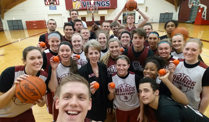 VCSU President Tisa Mason will be handing out mini-basketballs at the VCSU basketball games Wednesday night.