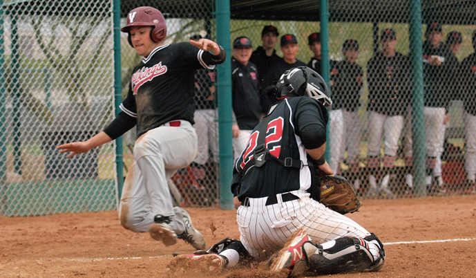 Jared Meiklejohn scores a run Wednesday night against Wesleyan. (Photo credit: Darryl Gershman)