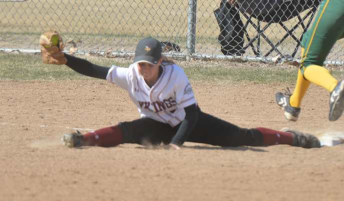 VCSU's Kelli Moore stretches to make a play at first base Saturday against Presentation College.
