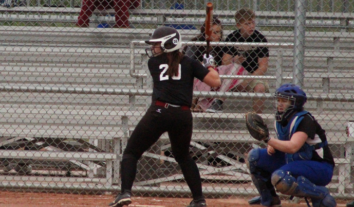 VCSU's Olivia Damge at the plate during VCSU's spring trip. Damge delivered the game-winning hit Thursday.