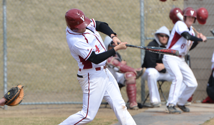 Jake Rambow, pictured earlier this season, had a walk-off single in game two Saturday.