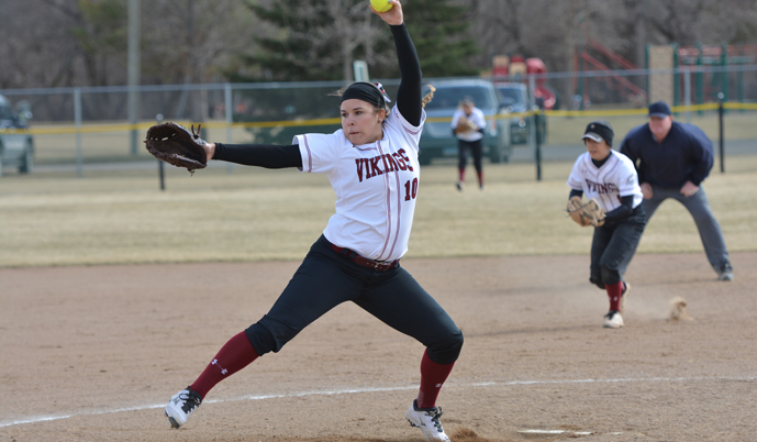 VCSU's Kathleen Gallais delivers a pitch Wednesday during a doubleheader at Jamestown.