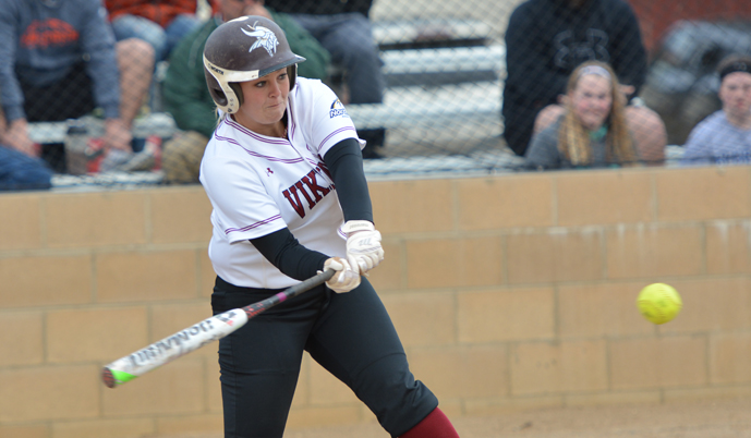 Taylor Schroeder takes a swing during VCSU's doubleheader with Jamestown on Wednesday.