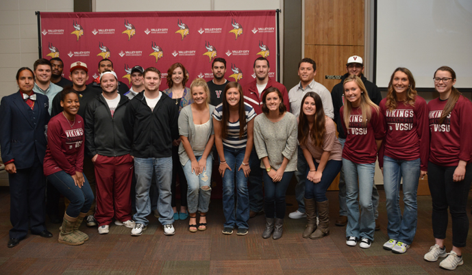 Valley City State University honored all its senior athletes at the annual Viking Awards social held Monday night.