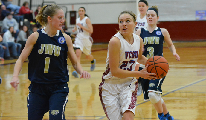 VCSU guard Steph Pedersen goes in for a shot attempt on a fast break Friday.