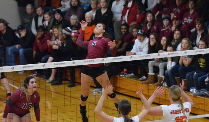 VCSU hitter Alley Theroux goes up for an attack Wednesday night at Jamestown. (Mark Potts/VCSU)