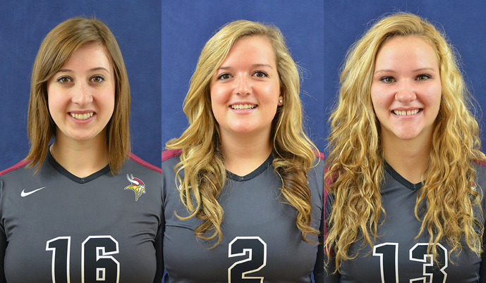 Volleyball players, from left, Kaitlyn Heuring, Steph Miller and Barbara Ector were named Daktronics NAIA Scholar-Athletes.