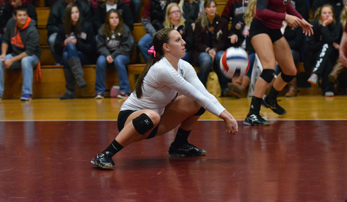 Viking senior Jen Wettstein makes a dig Saturday against Dakota State. (Mark Potts/VCSU)