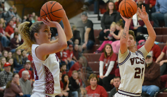 Georgia Williams, left, Mac Kroeplin and the Vikings close out the regular season Saturday at Presentation College.