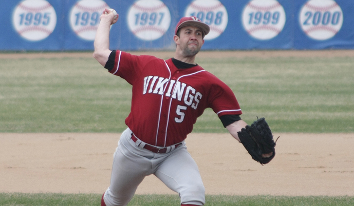 David Whitaker pitches against Mayville State on Saturday. (Photo credit: Alan Hirsch)