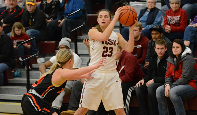 VCSU's Sara Schwanke is guarded by Jamestown's Bryn Woodside on Saturday. (Mark Potts/VCSU)