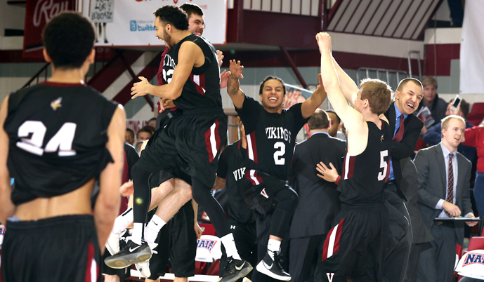 Valley City State celebrates after its victory Thursday morning at the NAIA National Tournament.