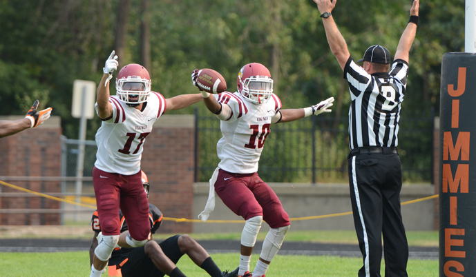 VCSU receivers Josh Tovar, left, and DJ Edwards celebrate a touchdown by Edwards in the 4th quarter Saturday. (Mark Potts)