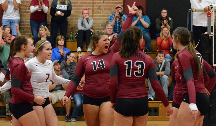 VCSU players celebrate a point during their match against Great Falls on Friday. (Mark Potts/VCSU)
