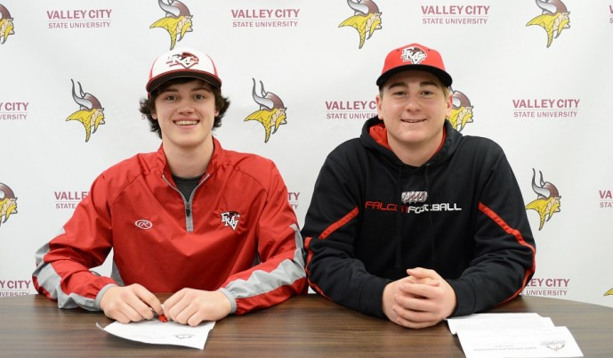 Jesse Johnson, left, and Jorun Hamre both signed letters of intent Wednesday to play baseball at VCSU next fall.