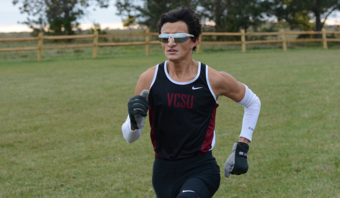 Dennis Gonzalez runs during a cross country meet Oct. 7 at Jamestown.