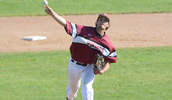 VCSU's Andrew Hirsch delivers a pitch Saturday against Dickinson State.