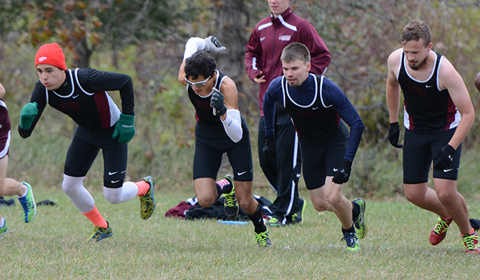 From left: Orin Rambow, Dennis Gonzalez, Casey Engelhard and Alex Askerooth start the men's race Friday.