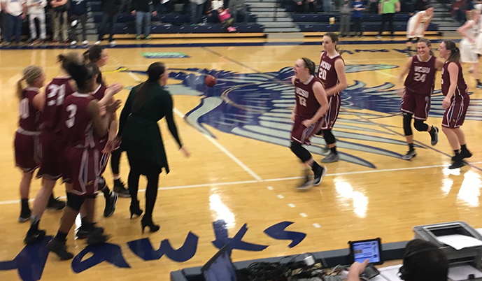 VCSU celebrates its win over Dickinson State on Friday night.