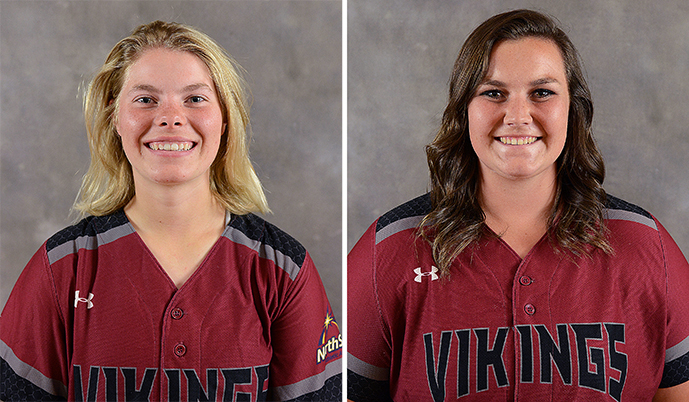 Jayme Menard, left, and Morgan Nalley had big days Friday for VCSU softball.