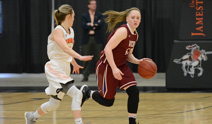 Lexi Lennon dribbles up the floor Sunday during the NSAA Championship. (Mark Potts/VCSU)