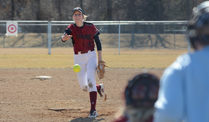 Haley Butterfield pitches Saturday for VCSU.