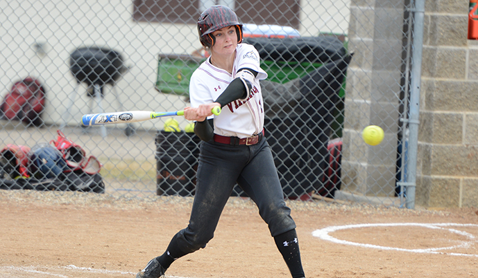 VCSU's Emily Smith swing at a pitch Sunday against Presentation College. (Jake Pommerer/VCSU)