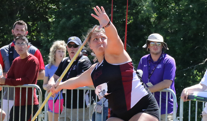Seri Geisler throws during the NAIA National Championships last month.