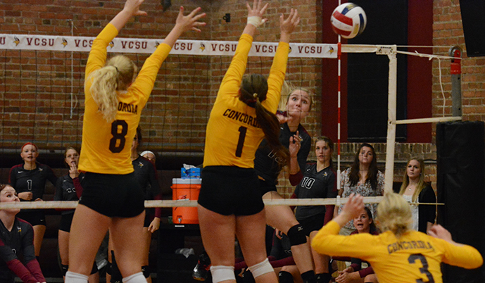 VCSU's Megan Johnson sneaks a kill down the line Tuesday against Concordia. (Mark Potts/VCSU)