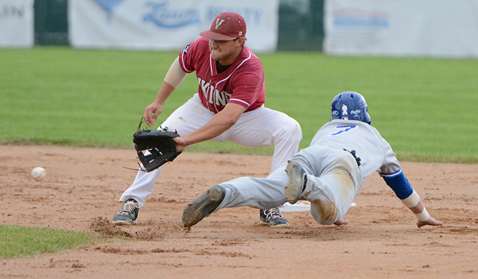Mayville State's Mason Swegarden steals second base Thursday ahead of the throw to VCSU's Jared Meiklejohn.