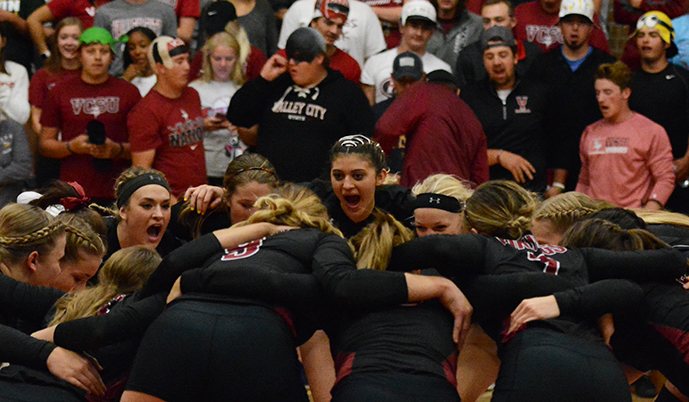 The Viking volleyball team will play in front of its home crowd two more times this weekend.