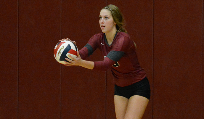 VCSU's Leah Ruter prepares to serve Friday night.