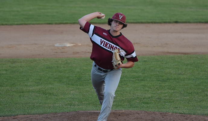 Jesse Johnson delivers a pitch Tuesday night for VCSU. (Mark Potts/VCSU)
